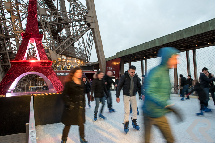Ice skaters on the Eiffel Tower