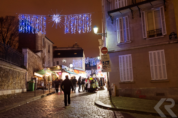 Holiday lights in Montmartre