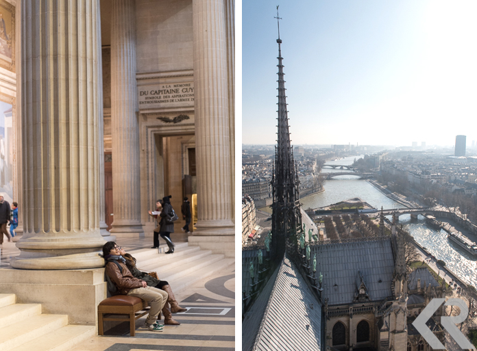 Taking an indoor break at the Pantheon (left) and the view from the rooftop of Notre Dame (right).