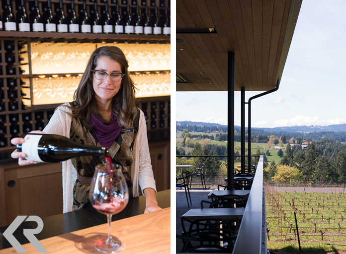 Woman pouring wine and vineyard view