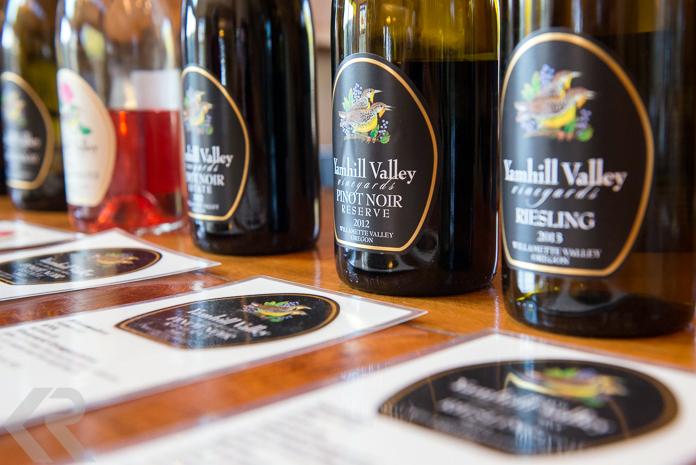 Wine bottles on a bar