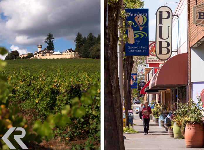 Landscape at Willamette Valley Vineyards and downtown Newberg