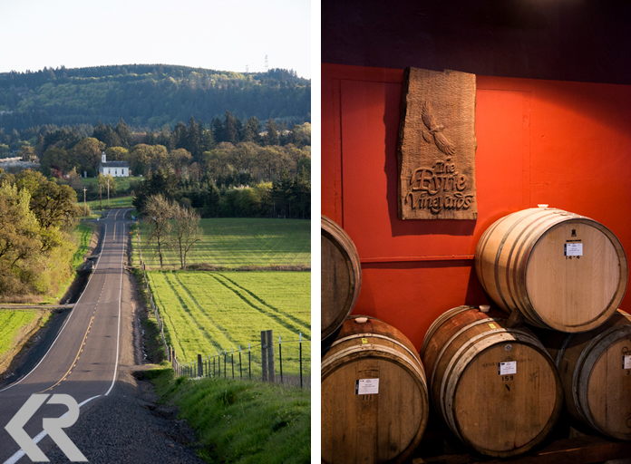 Country road scene and wine barrels at Eyrie