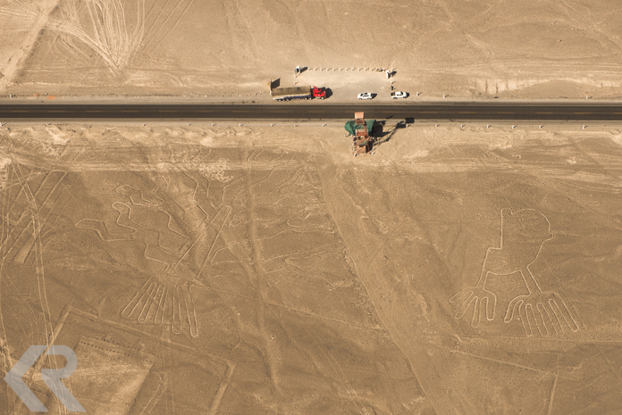 Aerial picture of the tree and hands Nazca Lines