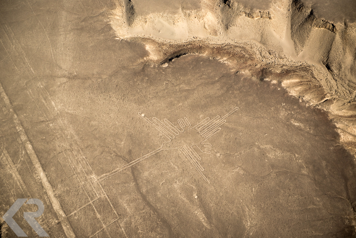 Aerial picture of the Nazca Lines hummingbird