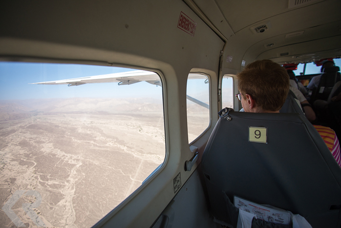 Aerial picture from inside a plane over the Nazca Lines