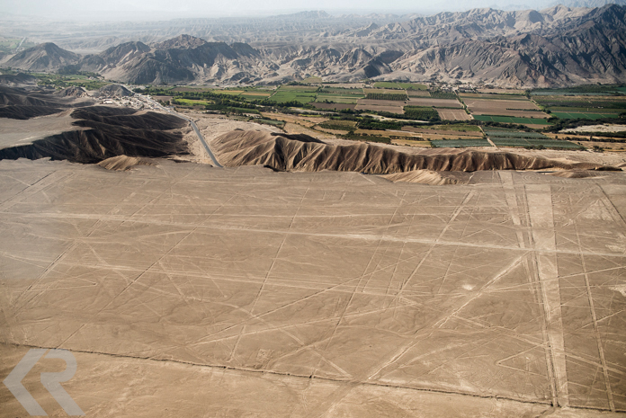 Aerial picture of the Nazca Desert landscape